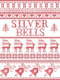 Christmas pattern Silver bells carol seamless pattern inspired by Nordic culture festive winter in cross stitch with heart Royalty Free Illustration