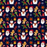 Christmas pattern snowflake winter holiday vector illustration fir tree snowman design season. Royalty Free Stock Photo