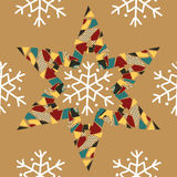 Christmas pattern with snowflakes and colorful paper stars. Packing paper for presents Stock Images