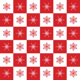 Christmas pattern snowflakes red and white chess Stock Image