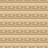 Christmas pattern with snowflakes and zigzag lines. On gold background Royalty Free Stock Image