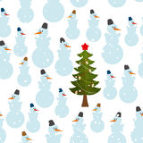 Christmas pattern. Snowman and Christmas tree seamless. Background. Feast of texture Royalty Free Stock Image