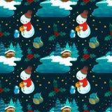 Christmas pattern snowman and house set illustration royalty free illustration