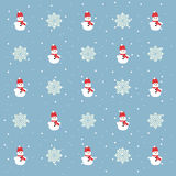 Christmas  pattern. Snowman and snowflakes on a blue background.  Stock Images