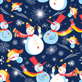 Christmas pattern with snowmen. Seamless Christmas pattern with snowmen on a dark background with snowflakes royalty free illustration
