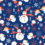 Christmas pattern with snowmen Royalty Free Stock Photography