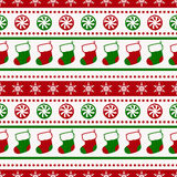 Christmas pattern with socks and candy. Vector seamless backgrou Royalty Free Stock Photography