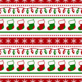 Christmas pattern with socks and garlands. Vector seamless backg Stock Photography
