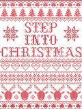 Christmas pattern Step into Christmas carol seamless pattern inspired by Nordic culture festive winter in cross stitch. With heart, snowflake, snow ,Christmas stock illustration