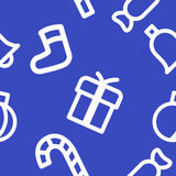 Christmas pattern. Christmas symbols on a blue background. It can be used as a background or texture Royalty Free Stock Photo