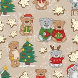Christmas pattern with teddy bears and cookies stock illustration