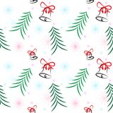 Christmas pattern tree bells snowflake star white background Stock Photo