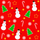 Christmas pattern with tree and snowman Royalty Free Stock Photography