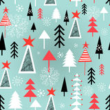 Christmas pattern with trees Royalty Free Stock Photography
