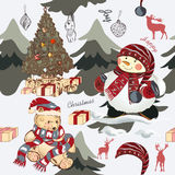 Christmas pattern with trees, plush bear and snowmen. Hand drawn Stock Photography