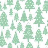 Christmas pattern - varied Xmas trees and snowflakes. Simple seamless Happy New Year background. Vector design for winter holidays on white background. Child Stock Photo