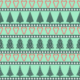 Christmas pattern - varied Xmas trees, stars and candy canes. Happy New Year and Merry Xmas seamless background. Vector design for winter holidays on mint Royalty Free Stock Photos