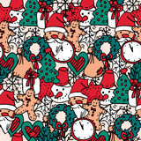 Christmas pattern. Vector doodle illustration . Design element hand drawn Royalty Free Stock Image