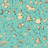 Christmas pattern. Vector hand drawn Christmas seamless pattern royalty free illustration