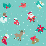 Christmas pattern. Vector seamless background with Santa and Christmas  decorations at retro style Stock Photos