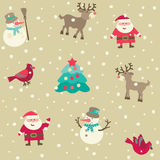 Christmas pattern. Vector seamless background with Santa and Christmas  decorations at retro style Stock Photo
