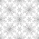 Christmas pattern with vintage silver snowflakes Royalty Free Stock Photo