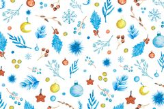 Christmas Pattern With Watercolor Elements royalty free stock images