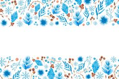 Christmas Pattern With Watercolor Elements On White Background. Christmas background with watercolor ornaments twigs, berries, leaves, snowflakes. Copy space royalty free illustration