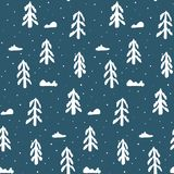 Christmas pattern with white fir trees and snow. Christmas seamless pattern with white fir trees and snow. Abstract naive winter new year scandinavian texture Royalty Free Stock Image