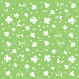 Green Merry Christmas wallpaper with angels, stars and Christmas pattern: white trees, angels, sleighs and stars. Christmas pattern: white trees, angels, rein stock illustration