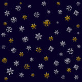 Christmas pattern for wrapping paper with Christmas icons. The thin line in gold and silver color. Use paper, fabrics, prints Stock Photos