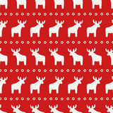 Christmas pattern - Xmas reindeer and star on red background. Happy New Year seamless background. Winter holidays vector design for textile, wallpaper, web Royalty Free Stock Image