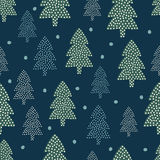 Christmas pattern - Xmas trees and snow. Royalty Free Stock Image
