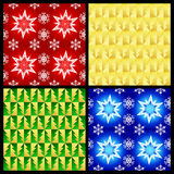 Christmas patterns. Vector christmas seamless patterns (Four color variants Stock Images