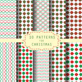 10 christmas patterns. 10 christmas and celebration patterns, Endless Textures for wallpaper, fills, web page background, surface Royalty Free Stock Image