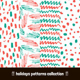 Christmas patterns pack. Seamless Holiday hand drawn pattern art hand drawn dry brush. Vector Illustration. Royalty Free Stock Photos