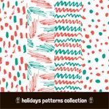 Christmas patterns pack. Seamless Holiday hand drawn pattern art hand drawn dry brush. Vector Illustration. Christmas patterns pack. Seamless Holiday hand drawn Royalty Free Stock Photos