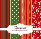 Christmas patterns. Set of four geometric seamless patterns vector illustration