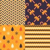 Christmas Patterns. Set of 4 seamless Xmas patterns Stock Photography