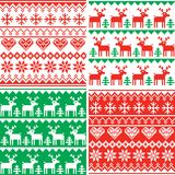 Christmas patttern set, Winter seamless design collection, ugly Xmas jumper style stock illustration