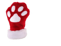 Christmas paw stocking. Red and white christmas stocking with paw print isolated on white background Royalty Free Stock Photo