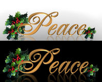 Christmas Peace Banner Border Graphics. Image and Illustration composition for Christmas holiday banner or border 2 styles with holly leaves and fancy gold text Stock Image
