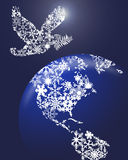 Christmas Peace Dove On Earth vector illustration