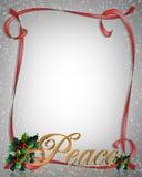 Christmas Peace Ribbon Frame Royalty Free Stock Photos