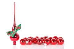 Christmas peak decoration with ribbon and christmas balls Stock Photography