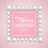 Christmas pearl frame. Vector fashion pearls border for wedding, anniversary or invitation Stock Images