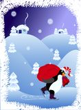 Christmas penguin. Christmas night landscape background with penguin stock illustration