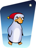 Christmas penguin. Illustration of penguin wearing Santa hat Stock Photo