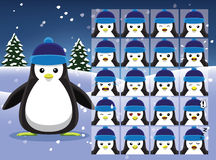 Christmas Penguin Cartoon Emotion faces Vector Illustration Royalty Free Stock Photos