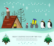 Christmas penguin family and santa Royalty Free Stock Images